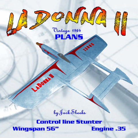 "Full Size Printed Plans Vintagr 1964 Control line Stunt ""LA DONNA II"" Good stunter, ranks with the best."