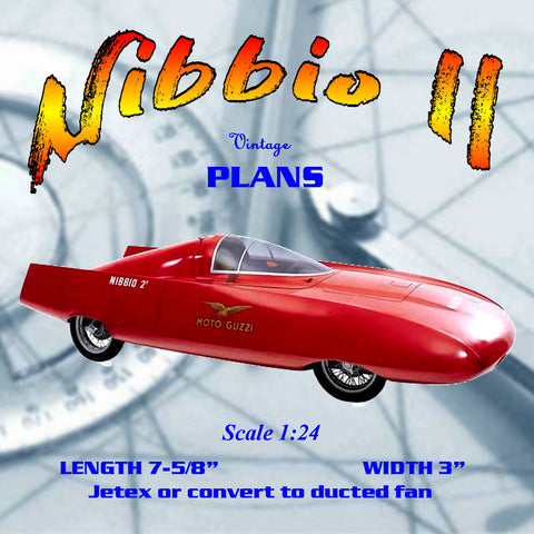 Full size printed plan Scale 1:24 Nibbio II speed records for Class J Power Jetex or convert to electric