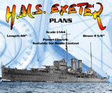 Full Size Printed Line Drawings Scale 1/144 York-class heavy cruiser H.M.S. EXETER Suitable for Radio Control