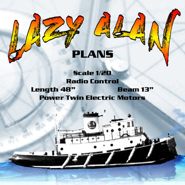 "Full Size Printed Plans Giant Scale 1:20 Tug L 48"" B 13"" For Radio Control"
