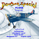 "Full Size Printed Plan Vintage 1950 Control Line Semi Scale Mini Racer ""Dawson Special"" 1/2A"