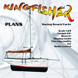 "Full size Printed Plans Racing Smack/Yacht Scale 1:24 KINGFISHER L 24"" Display or convert to Radio Control"