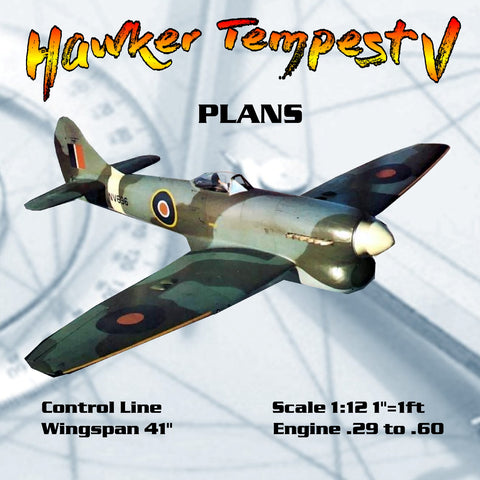 "Full Size Printed Plans Scale 1:12 Control Line Wingspan 41"" Hawker Tempest V"
