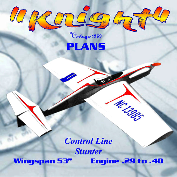 "Full Size Printed Plan 1969 Control Line Stunt  Wingspan 53"" The""Knight"" Engine .29 to .40"