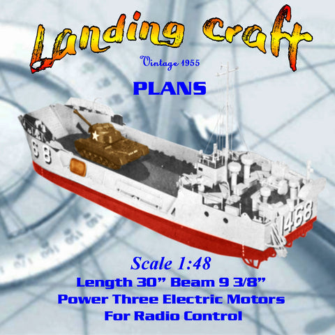 "WWII Model Boat Plans 1:48 Scale 30"" R/C Landing Craft Plans & Building Notes"