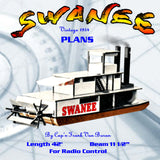 "Full Size Printed Plan  42"" PADDLE WHEELER ""SWANEE"" For Radio Contr"