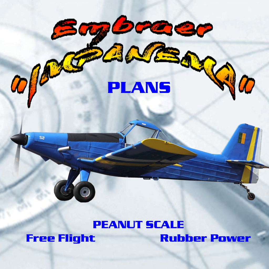 """Full Size Printed Peanut Scale Plans Embraer """"IMPANEMA"""" a cropduster  especially well suited to novice builders"""
