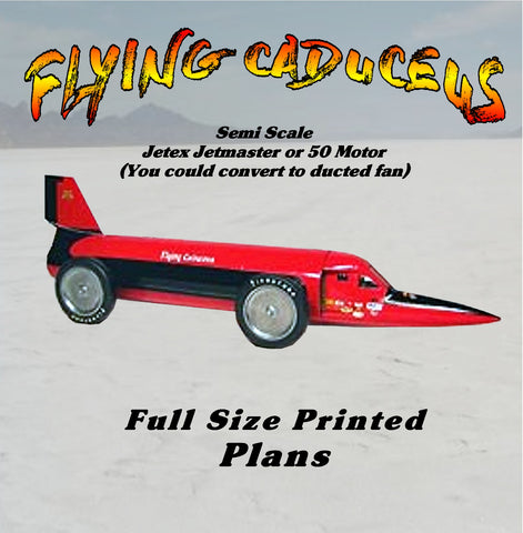 "Full Size Printed Plan FLYING CADUCEUS Semi Scale  L 10 ½""  JETEX Jetmaster or 50 Motor (You could convert to ducted fan"