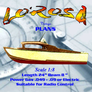 "Full size Printed Plans TWO-BERTH CABIN CRUISER LOROSA Semi-Scale 1:8  Length 24"" Suitable for radio control"