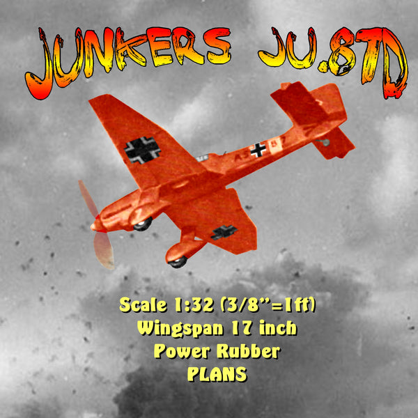 "Full size printed plan and Building notes Junkers Ju.87D Scale 1:32 (3/8""=1ft)  Wingspan 17 inch  Power Rubber"