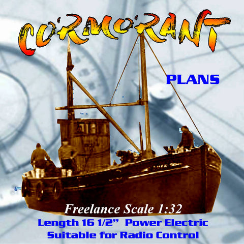 Full size Printed Plans inshore Trawler CORMORANT Freelance 1:32 Scale Suitable for small Radio Control