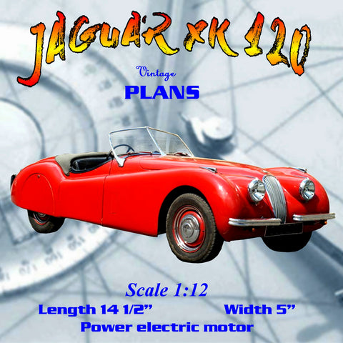 Full size printed plan Scale 1:12 JAGUAR XK 120 miniature of the British speedster.