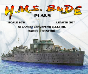 "Full Size Printed Plans Bangor class minesweepe SCALE 1/72 L 30"" STEAM or Convert to ELECTRIC  RADIO CONTROL"