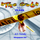 "Full size printed plan A/1 Nordic glider W/s 56"" The ""GOB"" all-balsa construction"