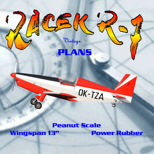 "Full size printed plans Peanut Scale "" RACEK R-7"" it is a great flyer; 70-second flights"