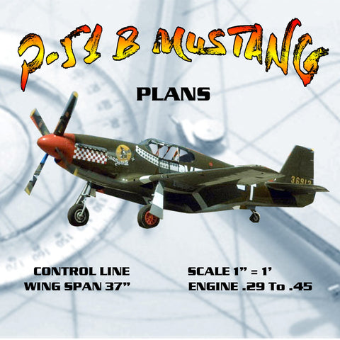 "Full Size PLANS SCALE 1"" = 1' CONTROL LINE WING SPAN 37"" P-51 B MUSTANG"