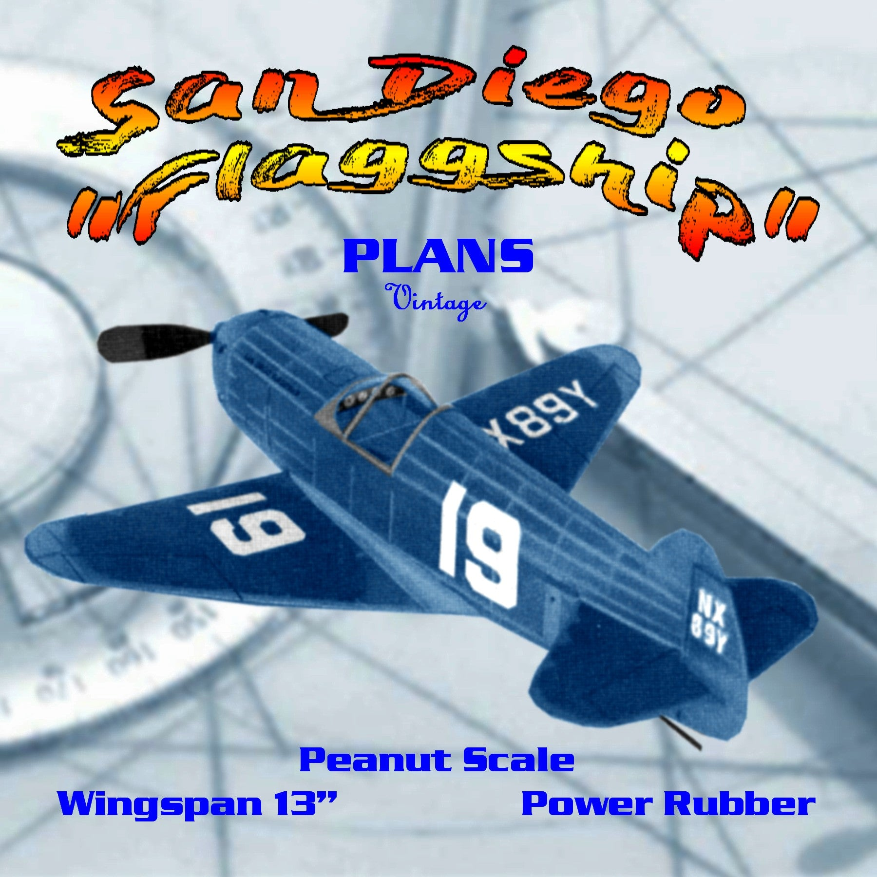 Full size printed plans Peanut Scale San Diego Flaggship An ill-fated 1930's Thompson Trophy racer