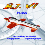 Full Size Printed Plan Control Line Jet Speed B.J. VI WORLDS FASTEST MODEL