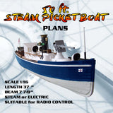 Full Size SCALE 1/16 Drawings 50 ft. STEAM PICKET BOAT SUITABLE for RADIO CONTROL