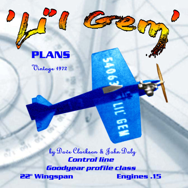 Full Size Printed Plan Vintage 1972 Goodyear profile class  Control line 'Li'l Gem' proven contest performance