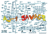 "Full size printed plan and Building notes AJ-1 SAVAGE 1:32 W/S 26 ¾""  Power twin rubber"