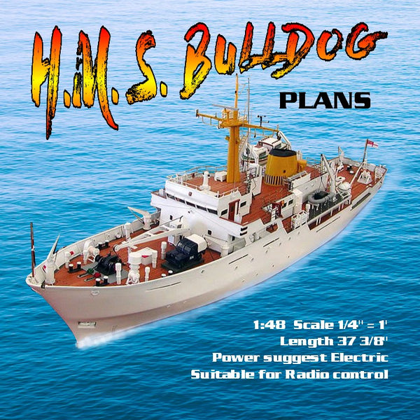 "FULL SIZE PRINTED PLANS Survey Vessal H.M. S. BULLDOG Scale 1:48 L 37 3/8"" Suitable for Radio control"