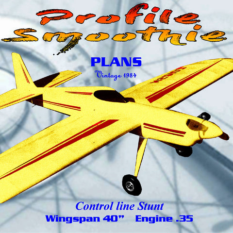 "Full Size Printed Plan Control line Stunt Profile Smoothie W/S 40""  Engine .35 easy-to-build package that is fun to fly."