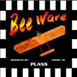 "Full Size Printed Plan & Building Notes Combat Plane Bee Ware WINGSPAN 42 ""  ENGINE .35"