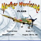 "Full Size Printed Plans Control Line Scale 1""= 1' Wingspan 40"" Hawker Hurricane"