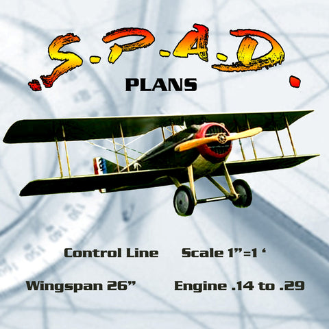 "Full size printed plans Control Line  Scale 1""=1 foot S.P.A.D. Wingspan 26  inches  Engine .14 to .29"