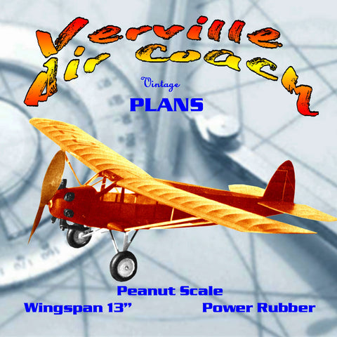 "Full size printed plans Peanut Scale ""Verville Air Coach""  you'll enjoy the Air Coach!"