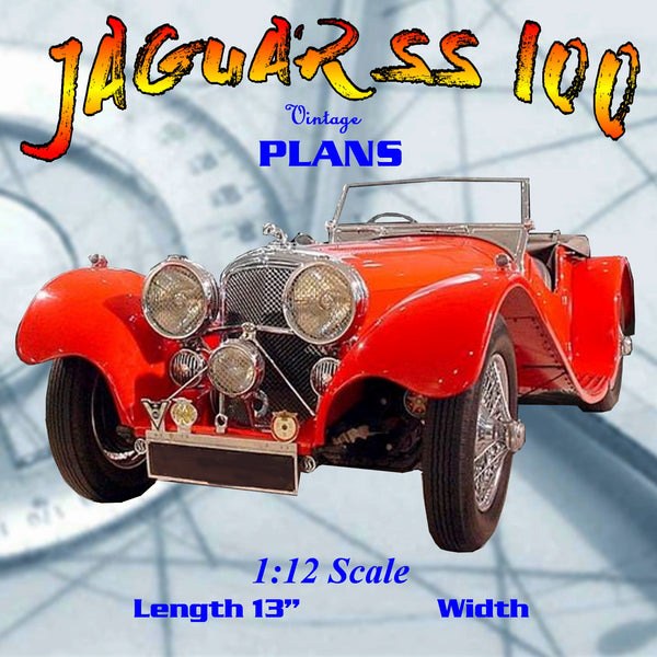 Full size printed plan Scale JAGUAR SS‑I00 SPORTS CAR  not a beginner's project as it is quite detailed