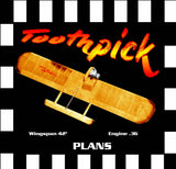 "Full Size Printed Plan & Building Notes COMBAT **Toothpick** Wingspan 42""  Engine .36"