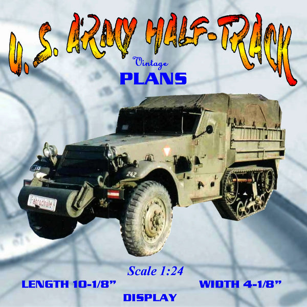 Full size printed Scale 1:24 U.S. Army Half-Track  simple wooden model It's easy to build