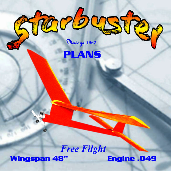 "Full Size Printed Plan 1962 FreeFlight  Wingspan 48""  Engine .049 Starbuster SIMPLICITY PLUS PERFORMANCE"