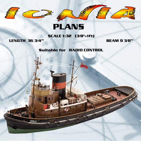 "Full Size Printed Plans SCALE 1:32 3/8""=1ft Tug IONIA L 36 3/4"" suitable for radio control"