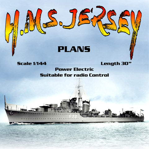"Full Size printed Plans Scale 1/144 destroyer H.M.S. JERSEY L 30"" Suitable for radio Control"