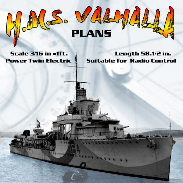 "FULL SIZE PRINTED PLANS Scale 3/16 in to 1ft. V&W Destroyers Length 58"" suitable for radio control"