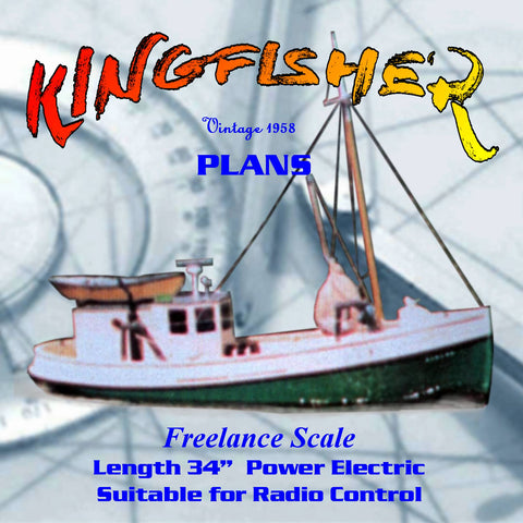 "Full Size Printed Plans 34"" KINGFISHER Jersey Coast dragger  for Radio Control"