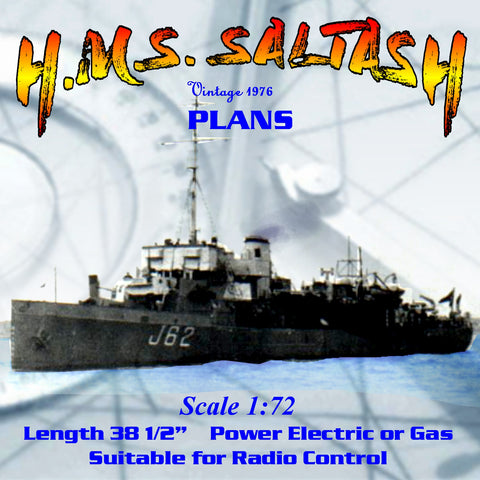 Full Size printed plan Scale 1/72 ABERDARE CLASS MINESWEEPERS H.M.S. SALTASH