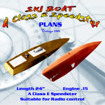 "Full Size Printed Plan  Class E Speedster ""SKI BOAT"" Suitable for radio control"