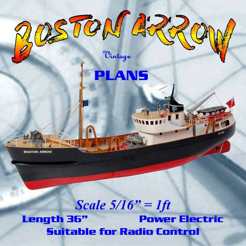"Build a 5/16""=1ft Scale Trawler 36"" for R/c Boston Arrow Full size printed plan & article"