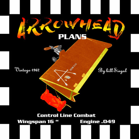 "Full Size Printed Plan vintage 1962 Control Line Combat ""ARROWHEAD "" A really hot 1/2A"