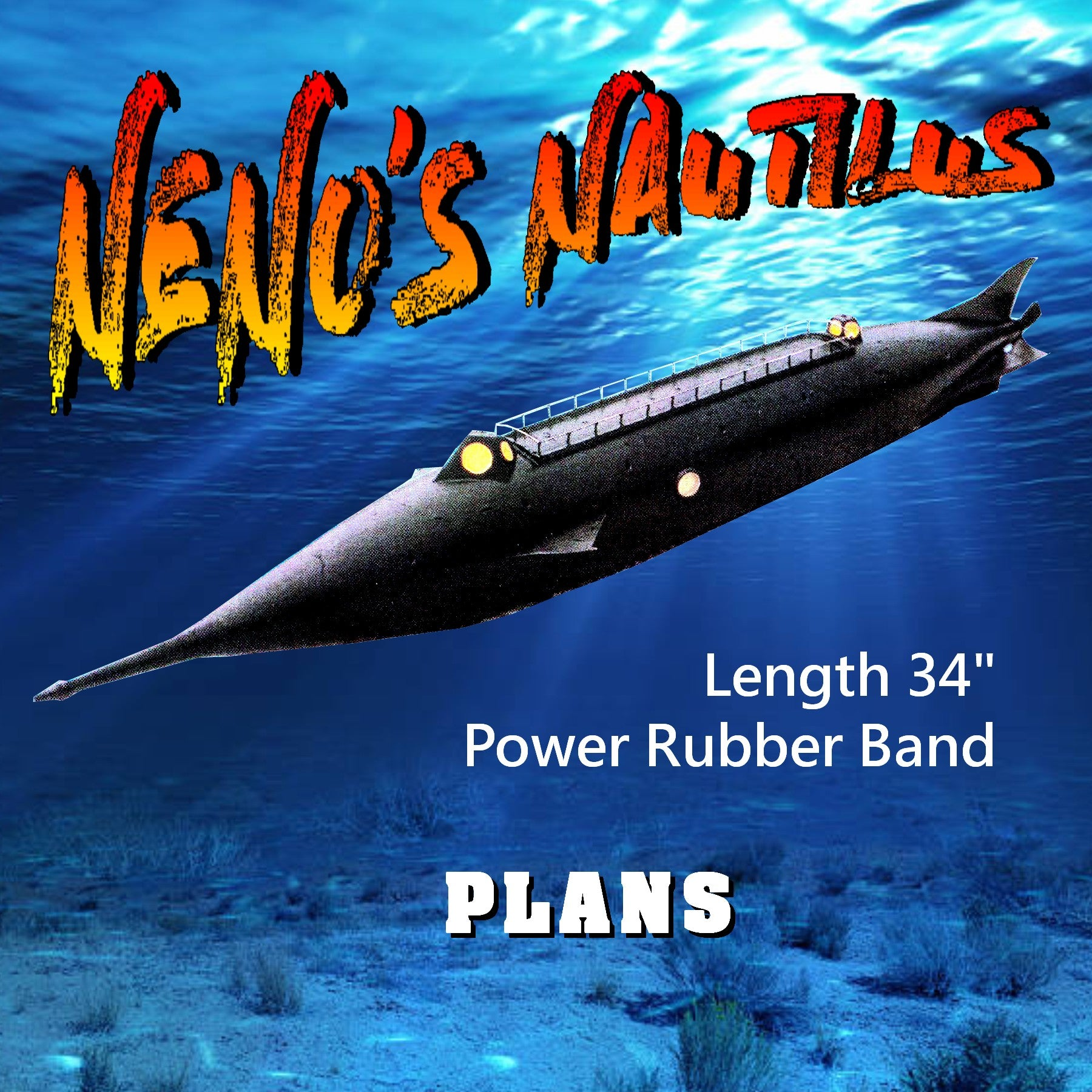 "Full Size Printed Plans swimming pool sub NENO'S NAUTILUS Length 34""  Power Rubber Band"