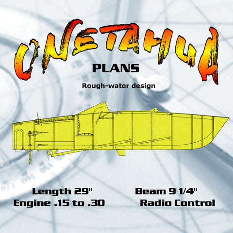 "Full size Printed Plan A rough-water design Length 29""  Beam 9 1/4""  Engine .15 to .30  Radio Control"