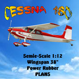 "Full Size Printed Plans Cessna 180 Semi Scale 1:12  Wingspan 38""  Power rubber"
