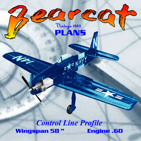 "Full Size Printed Plan Control line Profile Stunter Bearcat Wingspan 58""  Engine .60"