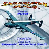 "Full Size Printed Plan 1959 Scale 1/24  Control Line  61""span ""Shackleton M.R.3."""