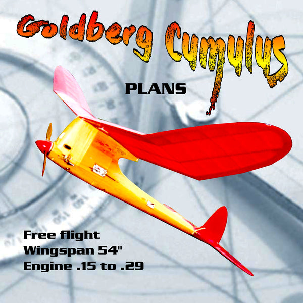 Full size printed plan Vintage  1950 Free flight Goldberg Cumulus Engine .15 to .29
