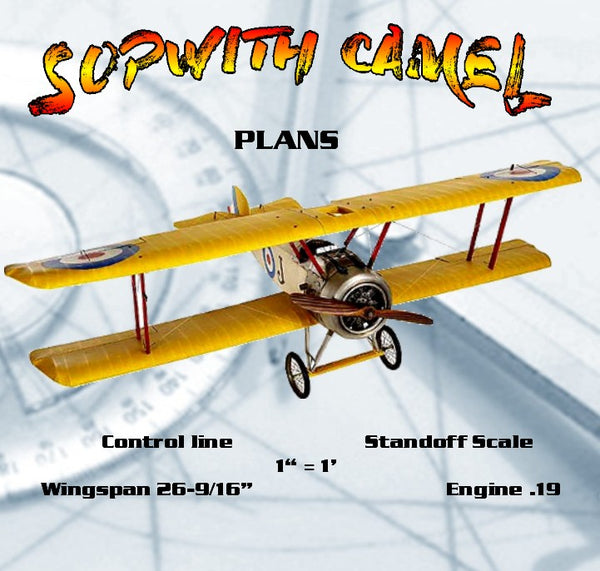 "Full size printed plans Control Line  Standoff scale 1""= 1' SOPWITH CAMEL Wingspan 26 9/16""  Engine .19"